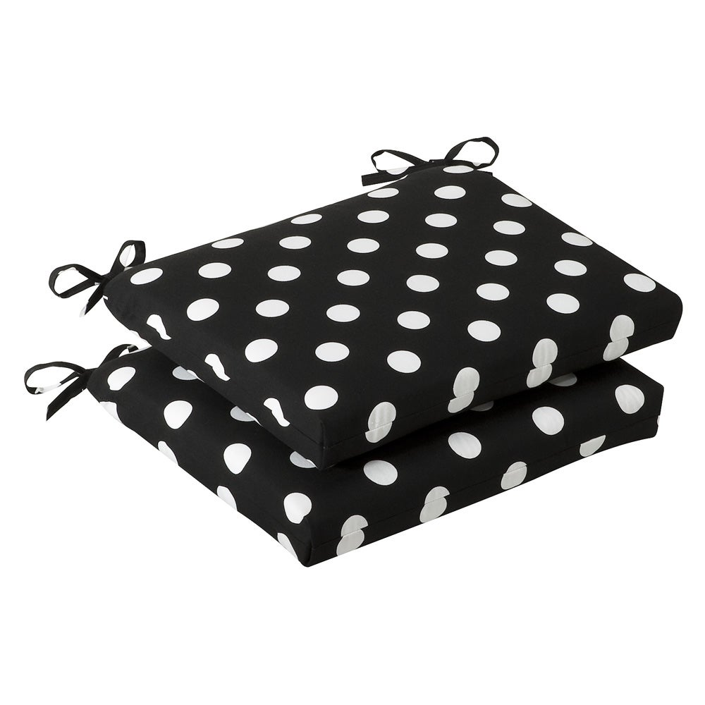 Patio Furniture Cushions White: Pillow Perfect Outdoor Black/ White Polka Dot Squared Seat