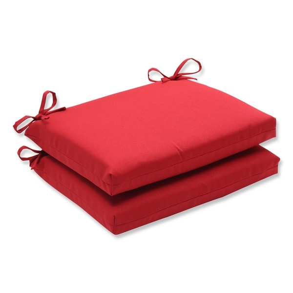 Pillow Perfect Outdoor Red Squared Seat Cushions Set of 2