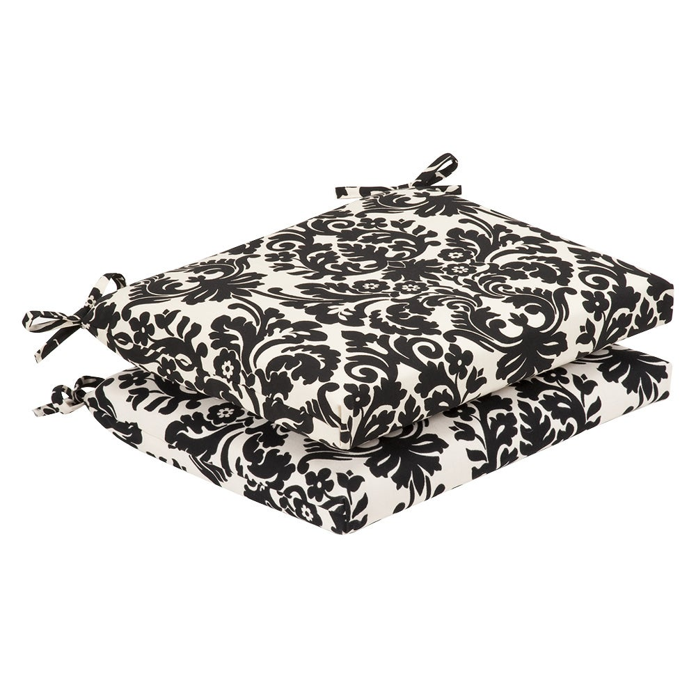 pillow perfect outdoor black beige damask squared seat cushions set of 2 black and white outdoor furniture