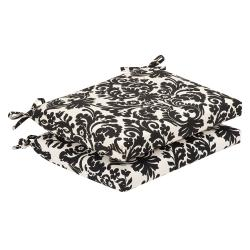 Pillow Perfect Outdoor Black/ Beige Damask Squared Seat Cushions (Set of 2)