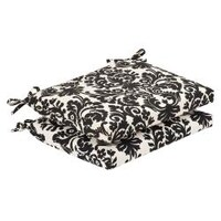 shop pillow perfect outdoor black beige damask seat cushions set