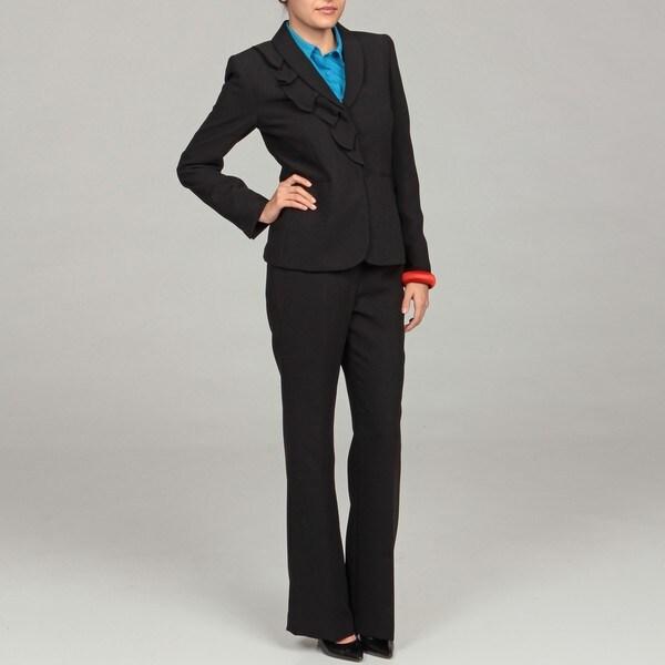 Tahari Women's Black Ruffled Three-button Suit
