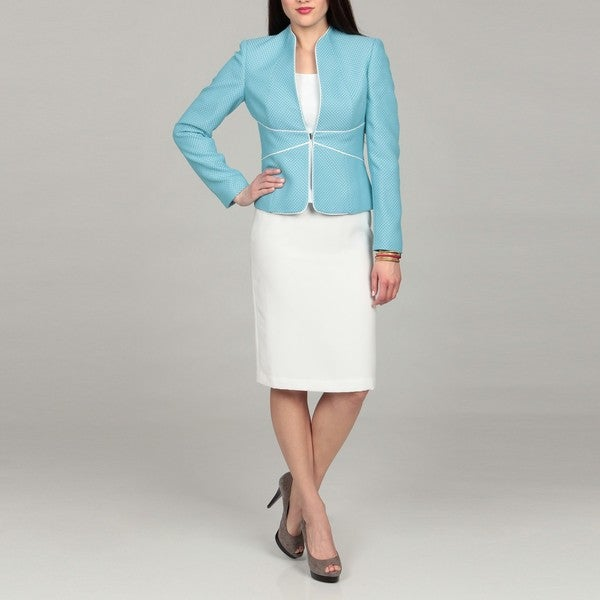 Tahari Women's Turquoise/White Tweed Skirt Suit