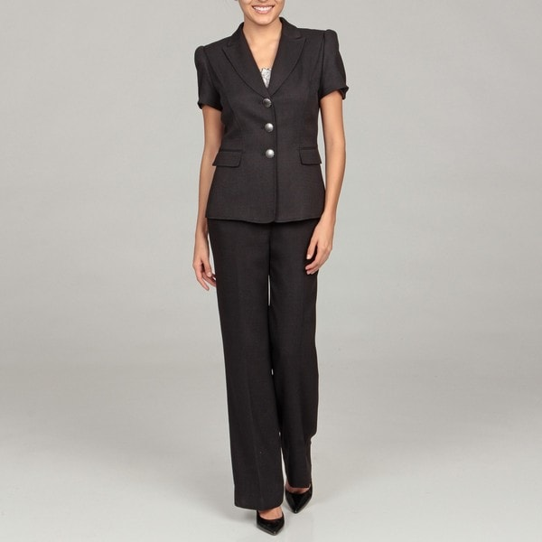 Tahari Women's Black Short Sleeve Pant Suit - Free ...