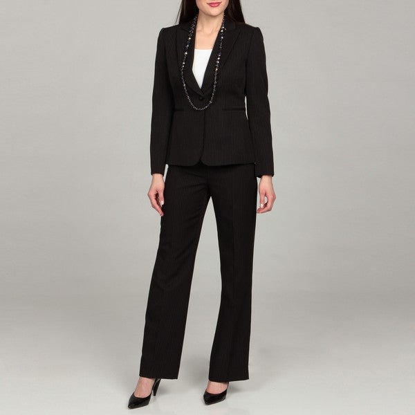 Tahari Women's Black/ Beige/ Brown Pinstripe Pant Suit