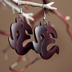 Mango Wood Om-Shaped Earrings (Indonesia)