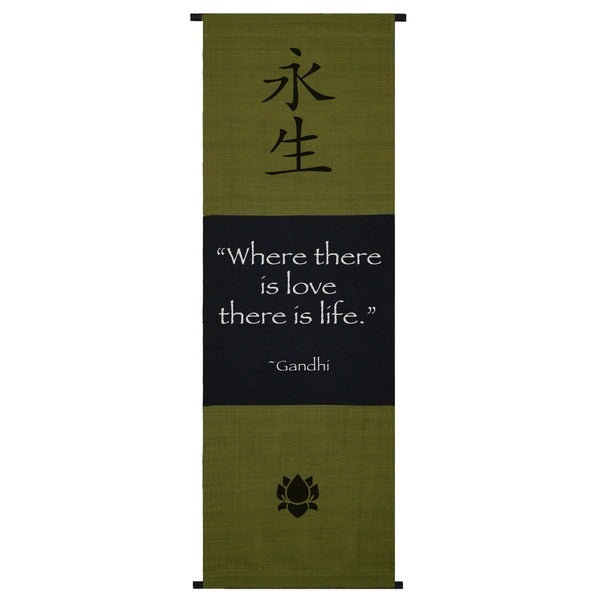 Handmade Gandhi 'Where There's Love' Cotton Scroll (Indonesia)
