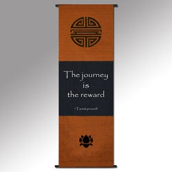 Taoist Proverb 'The Journey is the Reward' Cotton Scroll, Handmade in Indonesia