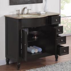 Silkroad Exclusive Travertine Stone Top Bathroom Single Vanity Lavatory Sink Cabinet (38-inch)