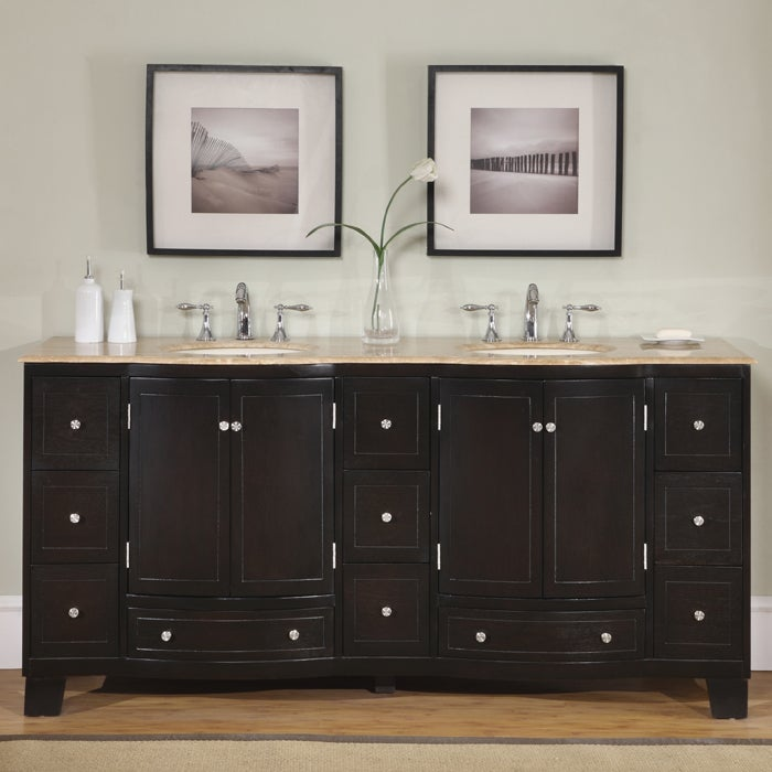 Silkroad Exclusive 72 Inch Travertine Stone Top Bathroom Double Vanity Lavatory Sink Cabinet