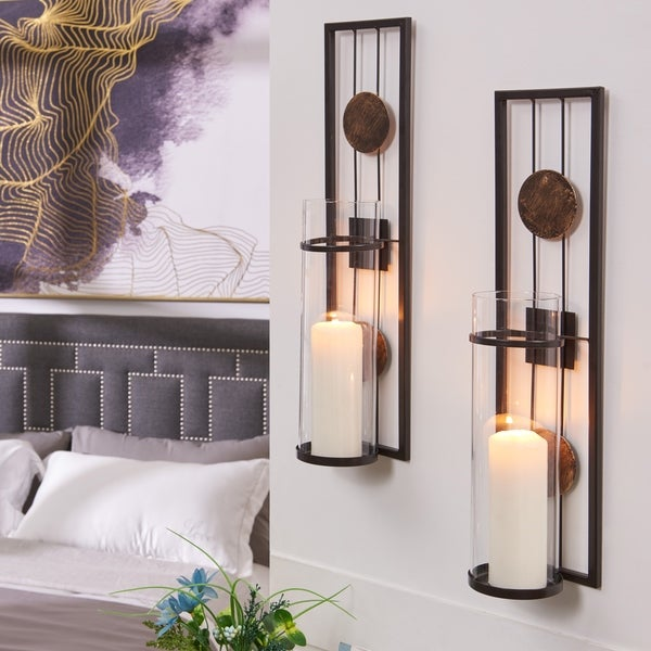 Danya B. 20 in. Decorative Metal Pillar Candle Wall Sconce (Set of 2)