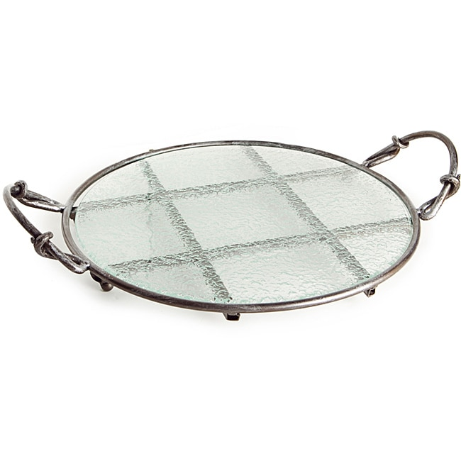 Round Textured Glass Platter on Iron Stand