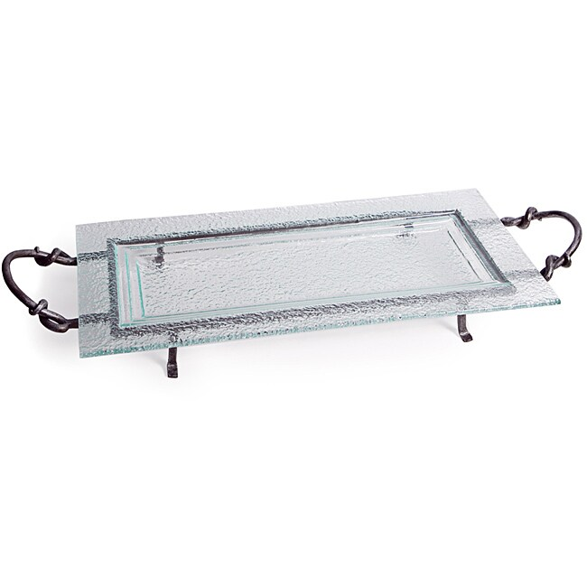 Extra Large Rectangular Textured Glass Plate on Iron Stand