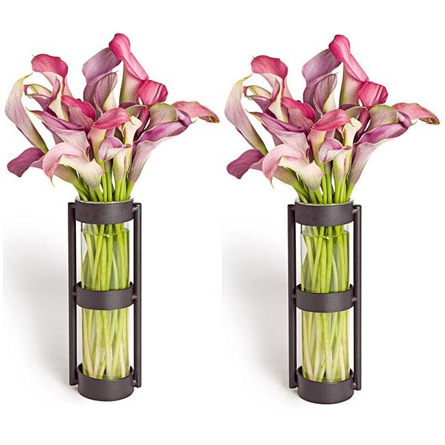 Metal Stand Glass Cylinder Vases (Set of 2)
