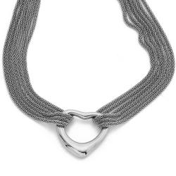 Stainless Steel Silvertone 18-in Open Heart Necklace By Ever One