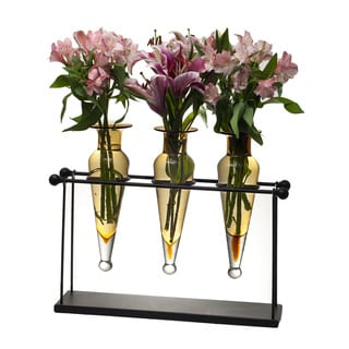 Triple Amber Amphora on Iron Stand with Finials Vases