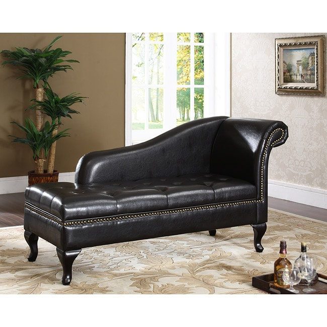 Espresso Chaise With Storage Free Shipping Today