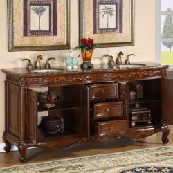 Silkroad Exclusive Stone Counter Top Double Sink Cabinet 72-inch Bathroom Vanity