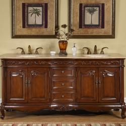 silkroad exclusive stone counter top double sink cabinet inch, Bathroom decor