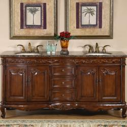 Silkroad Exclusive Stone Counter Top Double Sink Cabinet 72-inch Bathroom Vanity