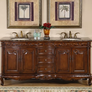 Silkroad Exclusive Stone Counter Top Double Sink Cabinet 72 Inch Bathroom  Vanity