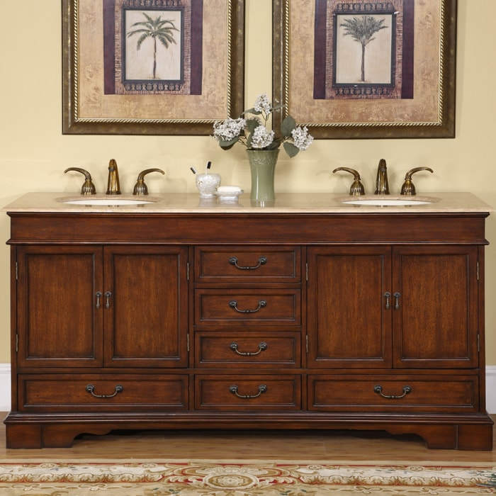 Silkroad Exclusive Natural Stone Top Sink Cabinet 72 Inch Bathroom Double Vanity Sink Cabinet