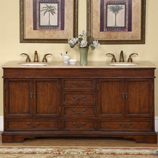 Silkroad Exclusive Natural Stone Top Sink Cabinet 72-inch Bathroom Double Vanity Sink Cabinet
