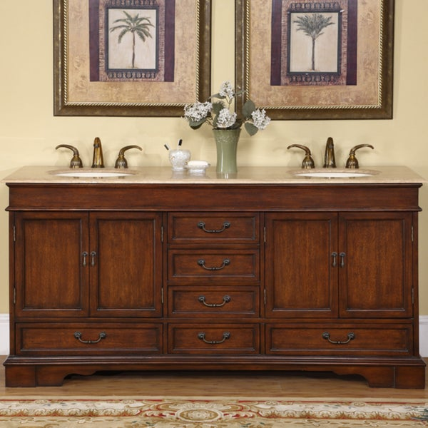 Ordinaire Silkroad Exclusive Natural Stone Top Sink Cabinet 72 Inch Bathroom Double  Vanity Sink Cabinet