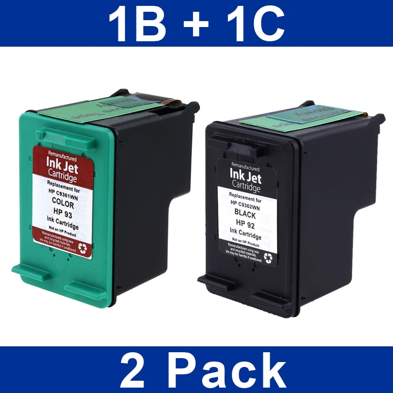 INSTEN HP 92/ 93 Black/ Color Ink Cartridge (Remanufactured) (Pack of 2)