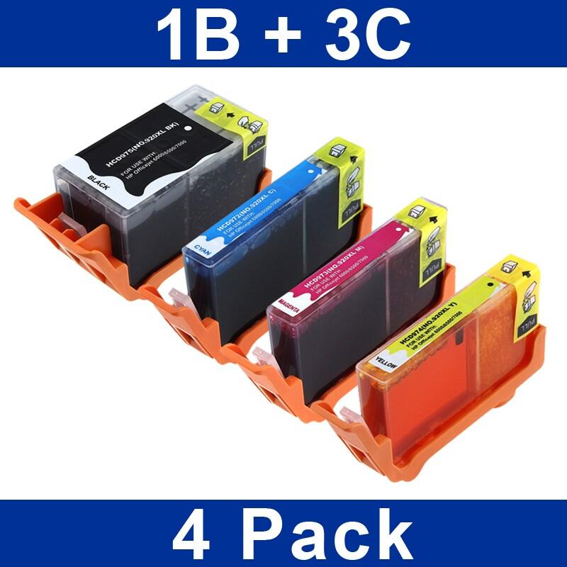 4-piece HP Compatible 920XL Black/ Color Ink Cartridge Set
