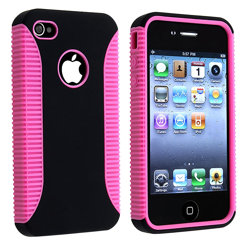 Hot Pink Hybrid Case Protector for Apple iPhone 4 AT&T - Thumbnail 0