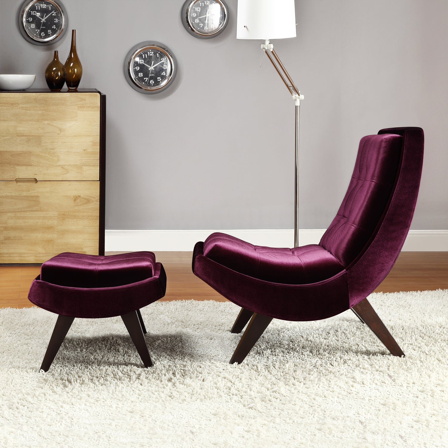 Shop Black Friday Deals On Inspire Q Albury Purple Velvet Lounging Chair With Ottoman Overstock 6310148