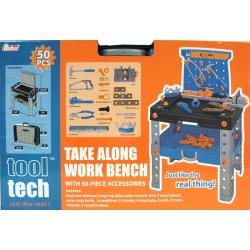 Boy's Plastic Tool Tech Take-along Casual Work Bench Set (50 Piece)
