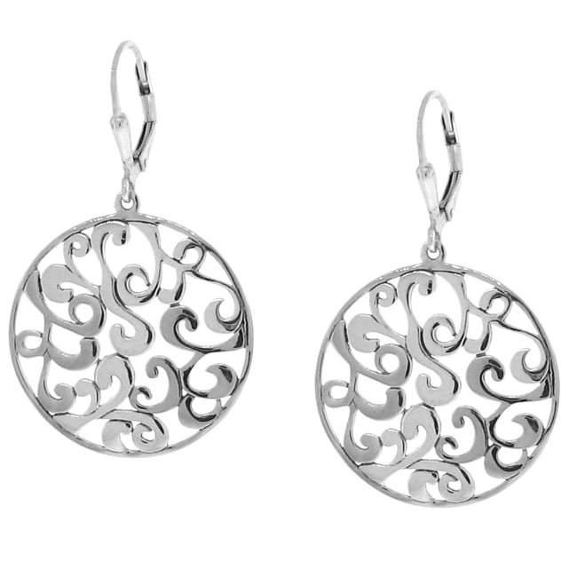 Sterling Silver Circle Filigree Earrings