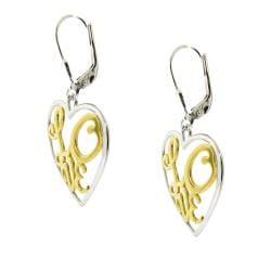 Silver Two-tone Love Earrings