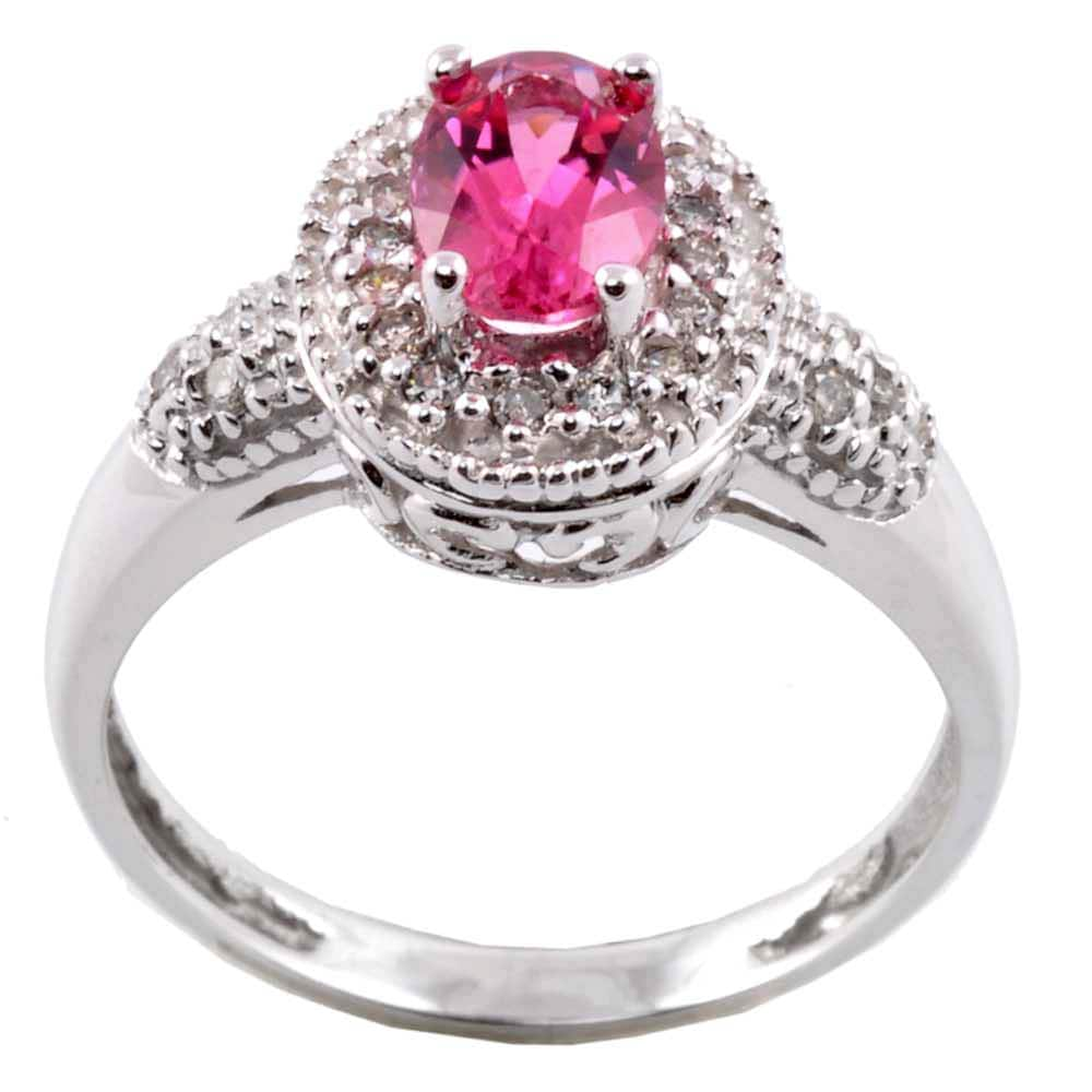 M.V. Jewels 14k Gold Pink Tourmaline and 1/6ct TDW Diamond Ring (I-J, I1-I2)