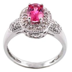 M.V. Jewels 14k Gold Pink Tourmaline and 1/6ct TDW Diamond Ring (I-J, I1-I2)
