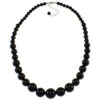 Pearlz Ocean Black Onyx Graduated Necklace