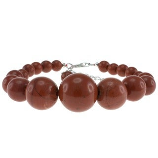 Pearlz Ocean Sterling Silver Red Jasper Bead Journey Bracelet Jewelry for Womens
