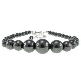 Pearlz Ocean Sterling Silver Hematite 6-14 mm Bead Journey Bracelet
