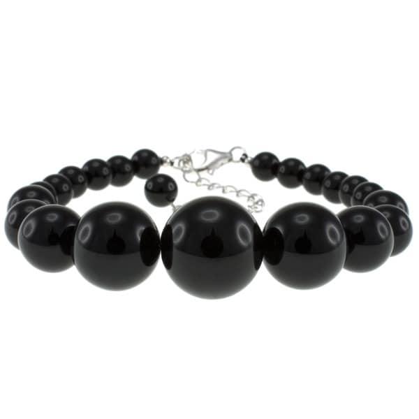 Pearlz Ocean Sterling Silver Black Onyx Bead Journey Bracelet