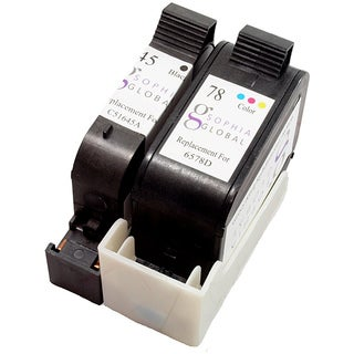 HP 45 and HP 78 Black and Color Ink Cartridges (Remanufactured) (Pack of 2)