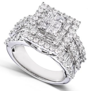 Link to Annello by Kobelli 14k White Gold 2ct TDW Princess Diamond Square Frame Cluster Composite Ring (H-I, I2-I3) Similar Items in Rings