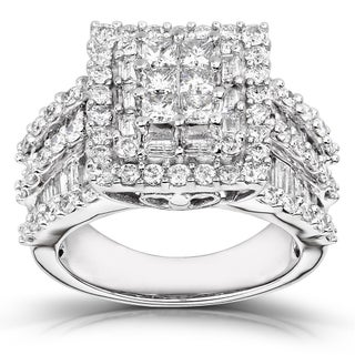Annello by Kobelli 14k White Gold 2ct TDW Princess Diamond Square Frame Cluster Composite Ring (H-I, I2-I3) (More options available)