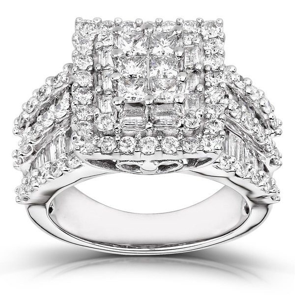 Annello by Kobelli 2ct TDW 14k White Gold Square Frame Cluster Ring Free Sh
