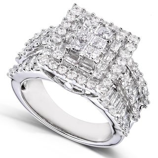 Annello by Kobelli 14k White Gold 2ct TDW Princess Diamond Square Frame Cluster Composite Ring