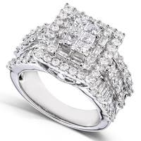 Annello by Kobelli 14k White Gold 2ct TDW Princess Diamond Square Frame Cluster Composite Ring (H-I, I2-I3)