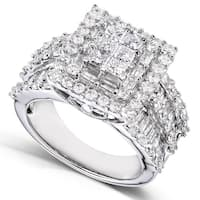 Annello by Kobelli 2ct TDW 14k White Gold Square Frame Cluster Ring