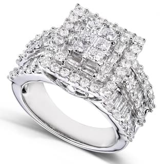 annello by kobelli 2ct tdw 14k white gold square frame cluster ring - Princess Wedding Rings