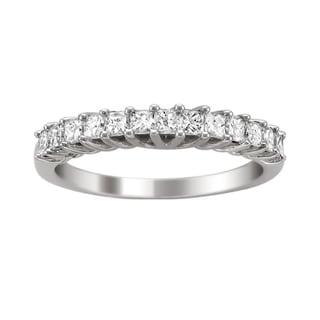 Montebello 14k White Gold 3/4ct TDW Princess-cut Diamond Wedding Band